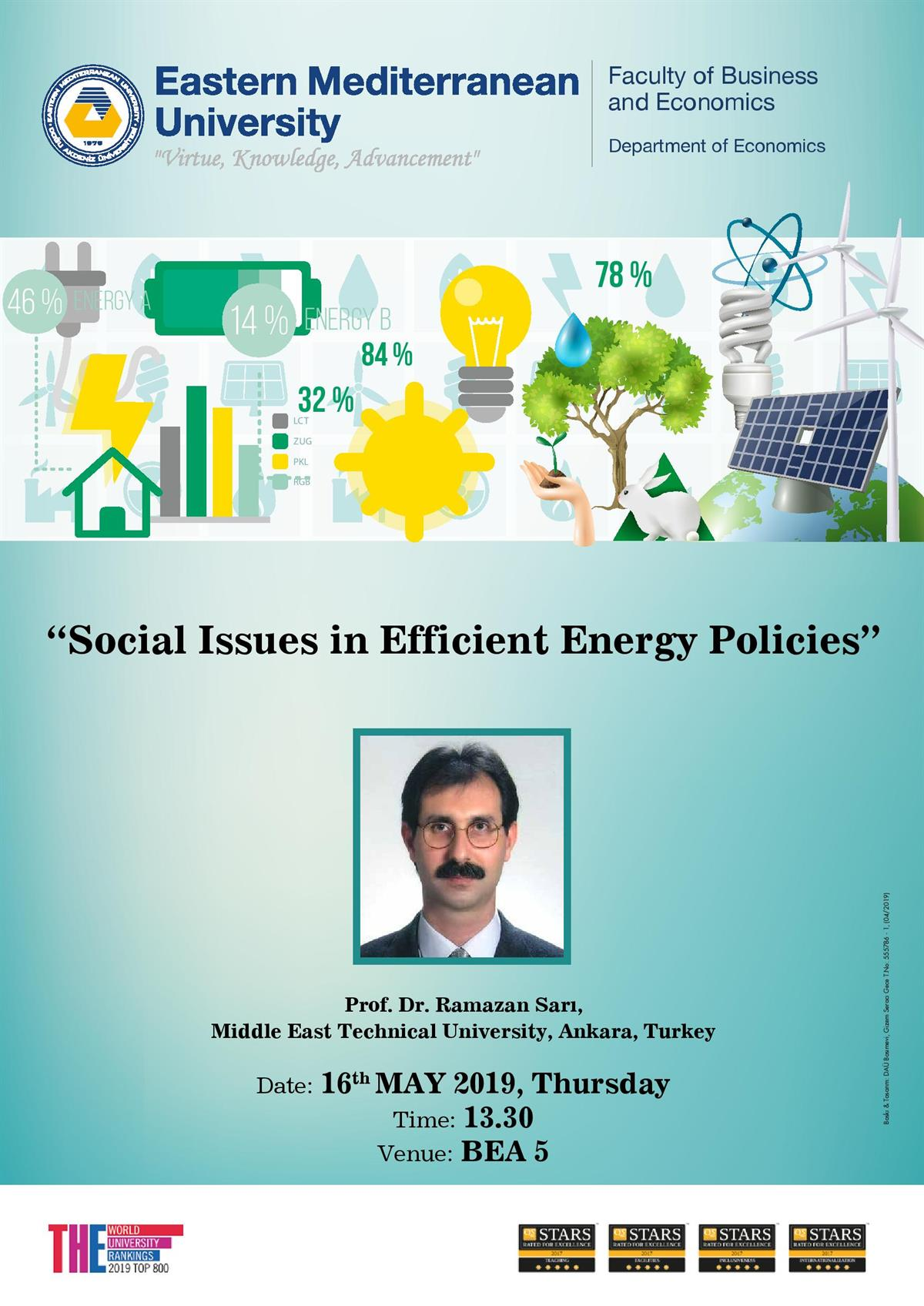 Seminar Series: Social Issues in Efficient Energy Policies By Prof. Dr. Ramazan Sarı