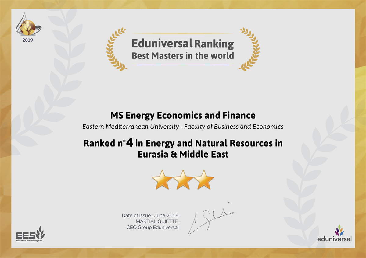 MS program in Energy Economics and Finance Ranked n'4 in Energy and Natural resources in Eurasia and Middle East.
