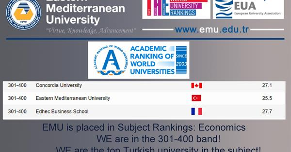 We are the top Turkish university in the Economics Subject rankings of the ShanghaiRankings 2019.