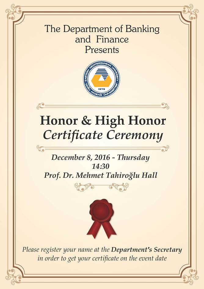 Honor and High Honor Certificate Ceremony   Announcements ...