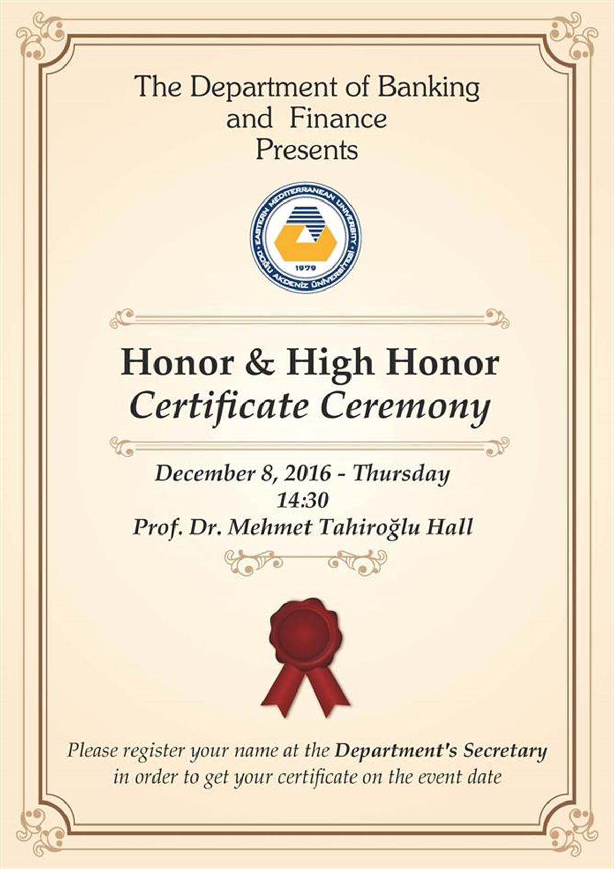 Honor and high honor certificate ceremony announcements honor and high honor certificate ceremony xflitez Images
