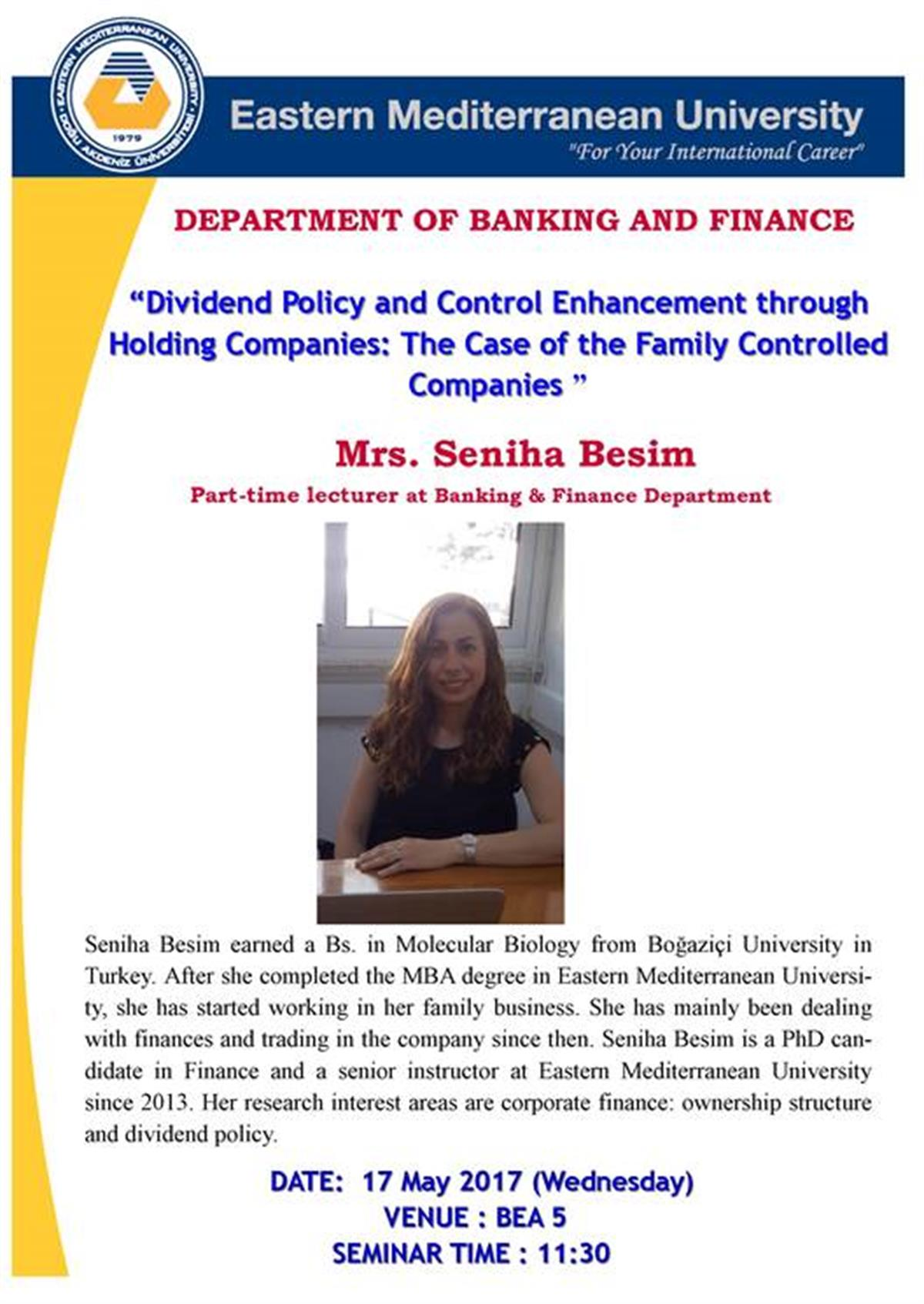 "Seminar: ""DIVIDEND POLICY AND CONTROL ENHANCEMENT THROUGH HOLDING COMPANIES: THE CASE OF FAMILLY CONTROLLED COMPANIES."""